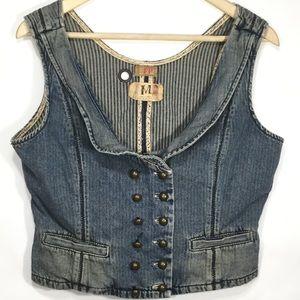Free People Women's M Button Up Denim Vest